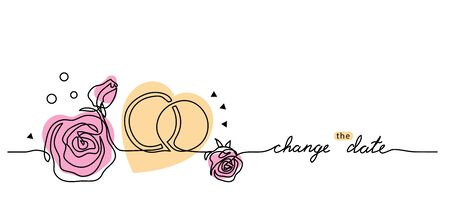 Change the wedding date simple vector card with rings and roses. Postponed wedding sketch, announcement, web banner, background. One continuous line drawing card with lettering. Editable stroke. 矢量图像