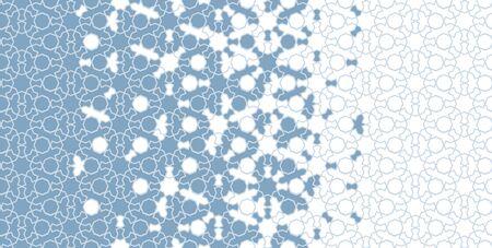Arabic, islamic blue border. Mosaic seamless vector pattern. Geometric halftone arabic border with disintegration.