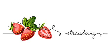 Strawberry vector color illustration, background, banner for label design. One continuous line drawing of strawberry with lettering. Editable black stroke.