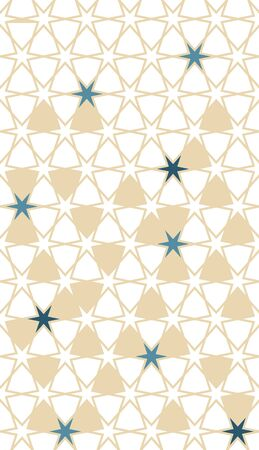 Arabesque seamless vector background pattern. Geometric arabesque halftone background with color tile disintegration.