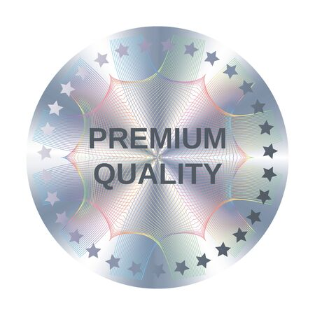 Premium quality round hologram sticker for label design. Metallic premium quality silver vector element with stars.