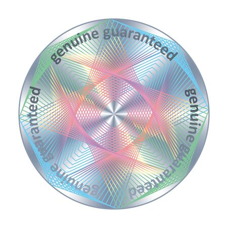 Genuine guaranteed round hologram metallic raibow sticker. Vector element for product quality guarantee.