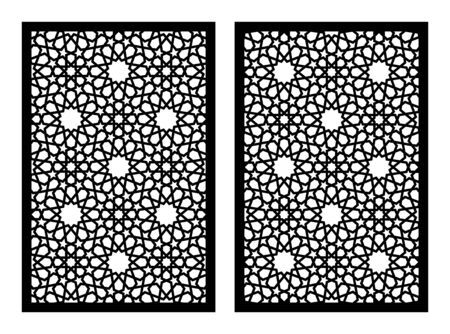 Laser cut vector panel, screen, fence, divider. Cnc decorative pattern, interior element. Islamic arabic laser cutting template.