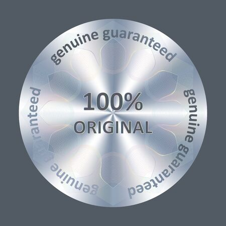 100 original silver quality sticker, hologram. Round hologram realistic sticker. Vector element for product quality guarantee.