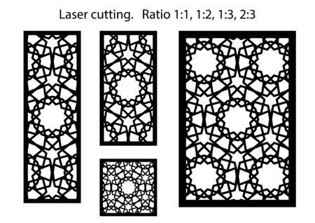 Laser cut vector panels kit. Cnc decor template, jali design, interior partition. Islamic,arabic laser cutting. Illustration
