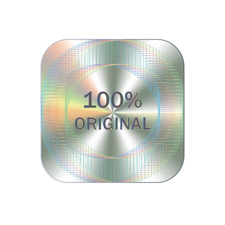 Original square hologram realistic sticker. Vector element for product quality guarantee. Hologram for lable design.