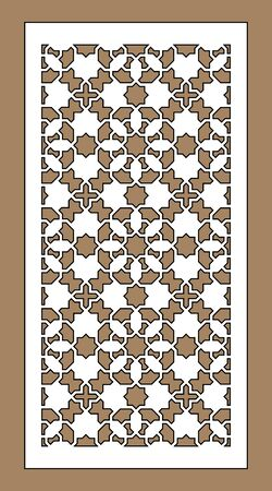 Arabic cnc vector panel. Laser cutting. Template for interior partition in arabic style. Cnc decorative panel.