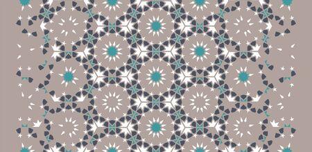 Moroccan arabesque vector decor. Geometric halftone moroccan decor with color tile disintegration. 일러스트