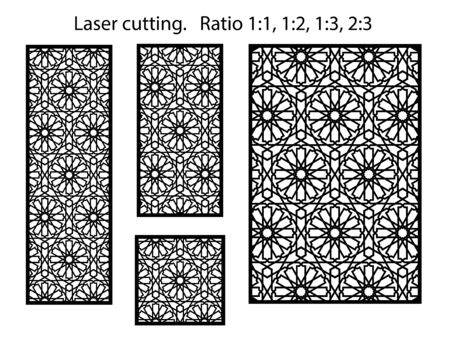 Arabic cnc vector panel. Laser cutting. Template for interior partition in arabic style. Cnc decorative panel. Vetores