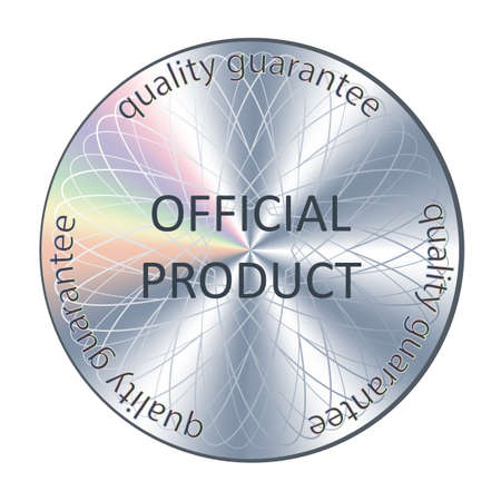 Official product round hologram realistic sticker. Vector icon, badge, sticker for product quality guarantee and label design. 写真素材 - 150583094