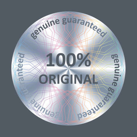 Original round hologram sticker, icon, badge. Silver metallic vector hologram for product quality guarantee.  イラスト・ベクター素材
