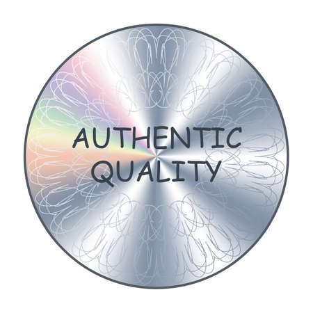 Authentic quality round hologram silver sticker. Vector element for product quality guarantee assurance.
