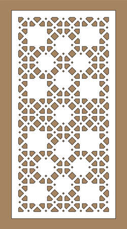Arabic islamic decorative wall, screen, panel pattern with stars. Vector template kit. Set of decorative vector panels for laser cutting. Template for interior partition in arabesque style. Stock Illustratie