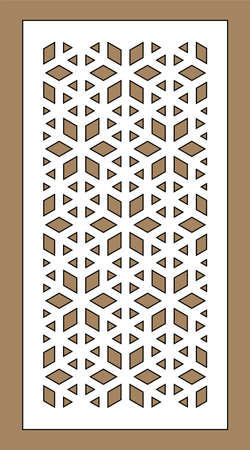 Laser cutting vector template. Arabesque vector panel, screen, fence. Cnc sheet for interior partition in arabic style, laser cutting.