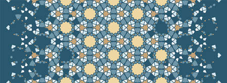 Moroccan mosaic wallpaper,repeating vector border, pattern, background. Geometric moroccan halftone pattern with color arabesque disintegration Illustration