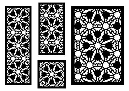 Arabic islamic decorative wall, screen, panel pattern with stars. Vector template kit. Set of decorative vector panels for laser cutting. Template for interior partition in arabesque style.