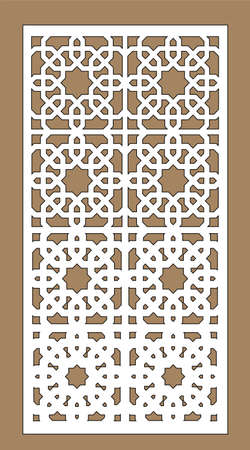 Decorative vector panel for cnc cut. Laser cutting. Art gradient sheet. Template for interior partition in arabic style. Ratio 1 to 2.