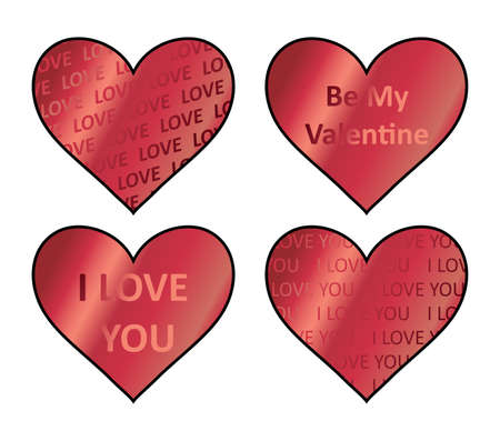 Heart holograms sticker set. Vector element, sign, icon, symbol for st Valentine s day. Red hearts stickers.