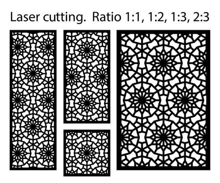 Arabic islamic decorative wall, screen, panel pattern with stars. Vector template kit. Set of decorative vector panels for laser cutting. Template for interior partition in arabesque style. Ilustración de vector