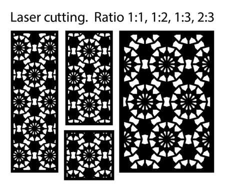 Cnc decorative pattern, jali design, interior element. Islamic , arabic laser cut kit bundle. Shade screen, privacy fence template. Laser cut vector panel, screen, fence, divider. Illusztráció