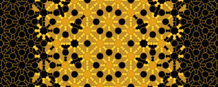 Moroccan mosaic wallpaper,repeating vector border, pattern, background. Geometric moroccan halftone texture with black and gold tile. Illusztráció