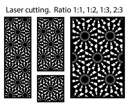 Laser pattern. Set of decorative vector panels for laser cutting. Template for interior partition in arabesque style. Vector laser patterns. Illusztráció