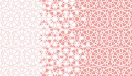 Arabesque vector seamless pattern. Geometric halftone texture with coral or orange color tile disintegration. Arabesque vector background. Illusztráció