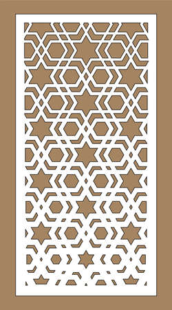 Arabic islamic decorative wall, screen, panel pattern with stars. Vector template. Decorative vector panel for laser cutting. Template for interior partition in arabesque style.