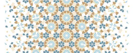 Arabesque vector border, wallpaper, texture, background,pattern. Geometricarabesque halftone texture with color tile disintegration.