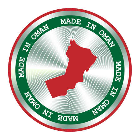 Made in Oman seal or stamp. Round hologram sign for label design and national marketing.