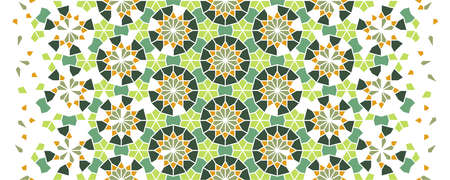 Arabic islamic vector pattern, border, decor, texture, background. Geometric halftone pattern with arabic color mosaic disintegration.