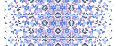 Arabesque vector seamless pattern. Geometric halftone texture with color tile disintegration. Arabesque modern pattern.