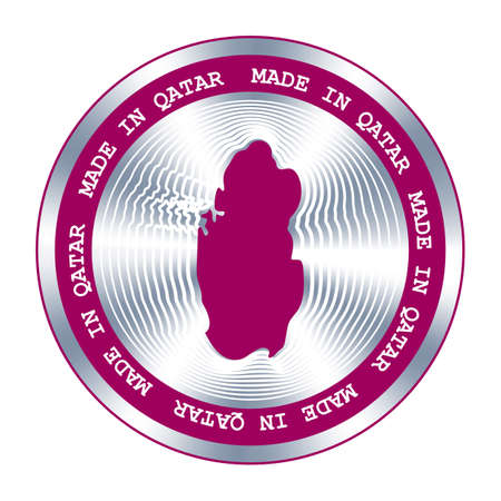 Made in Qatar seal or stamp. Round hologram sign for label design and national marketing.