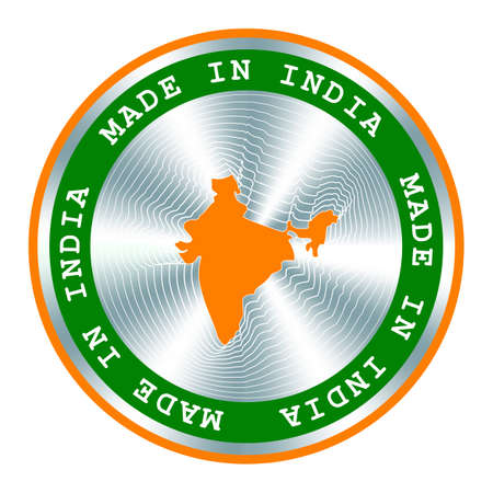 Made in India seal or stamp. Round hologram sign for label design and national India marketing. Local production tag. Ilustração