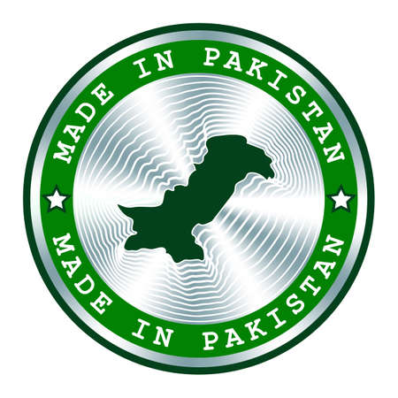 Made in Pakistan seal or stamp. Round hologram sign for label design and national Pakistan marketing. Local production tag.