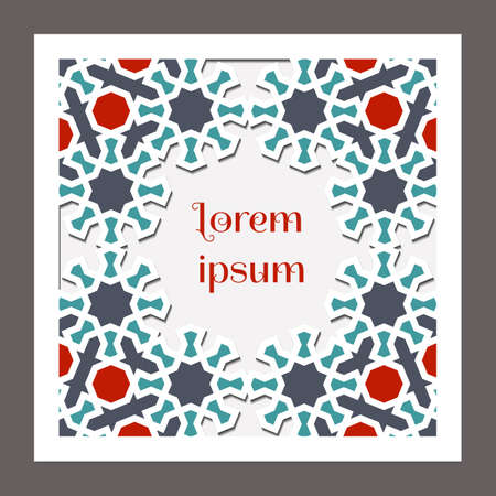Square card design for invitation, celebration, save the date, wedding performed in arabic geometric tile. Cut out paper. Colofrul vector template. Ilustração