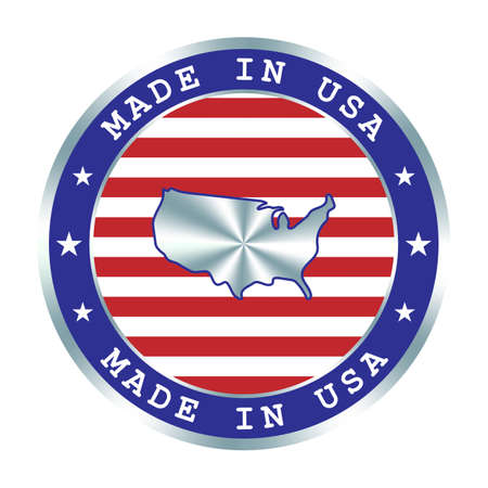 Made in USA seal or stamp. Round hologram sign for label design and national USA marketing. Local production tag.