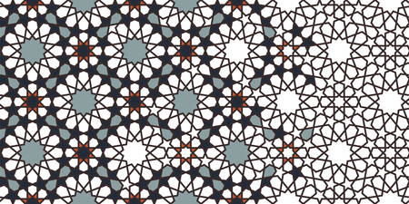 Morocco mosaic wallpaper,repeating vector border, pattern, background. Geometric morocco halftone pattern with color arabesque disintegration. Ilustração