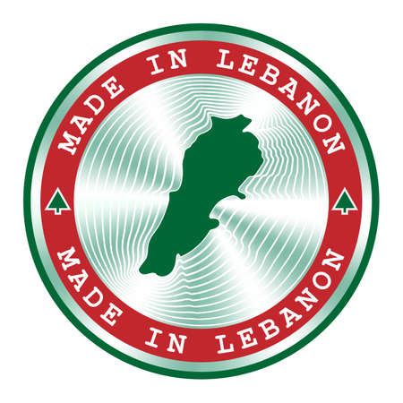Made in Lebanon seal or stamp. Round hologram sign for label design and national Lebanon marketing. Local production tag.