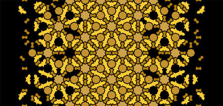 Arabesque vector seamless pattern. Geometric halftone texture with black and gold tile disintegration. Luxury, rich arabic texture.