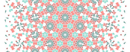 Morocco mosaic wallpaper,repeating vector border, pattern, background. Geometric morocco halftone pattern with color arabesque disintegration.
