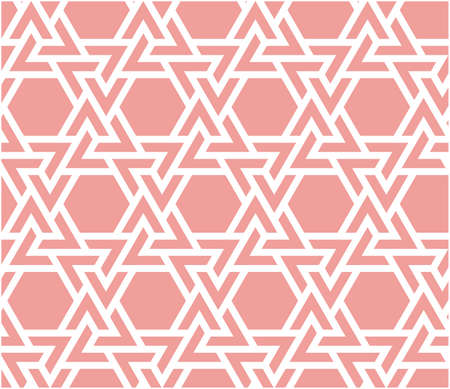 Living coral arabesque vector seamless pattern. Geometric halftone texture with color tile disintegration. Coral color texture, background, wallpaper.