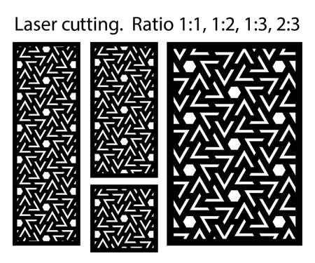 Laser pattern. Set of decorative vector panels for laser cutting. Template for interior partition in arabesque style. Vector laser patterns. Ilustração