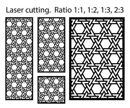 Arabic islamic decorative wall, screen, panel pattern with stars. Vector template kit. Set of decorative vector panels for laser cutting. Template for interior partition in arabesque style. Ilustração