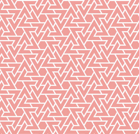 Living coral color seamless geometric pattern. Vector repeating texture for fabric design, cloth, textile.