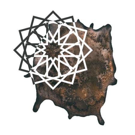 Arabesque art round geometric element with  splash. Mandala art design.