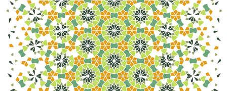 Moroccan mosaic wallpaper,repeating vector border, pattern, background. Geometric moroccan halftone pattern with color arabesque disintegration Ilustração