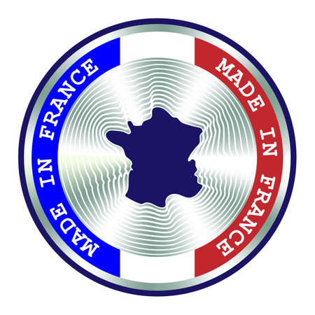 Made in France seal or stamp. Round hologram sign for label design and national marketing. Badge for French local production.