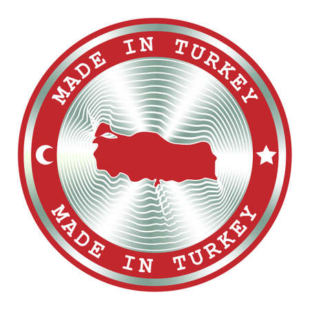 Made in Turkey seal or stamp. Round hologram sign for label design and national marketing. Badge for Turkish local production.