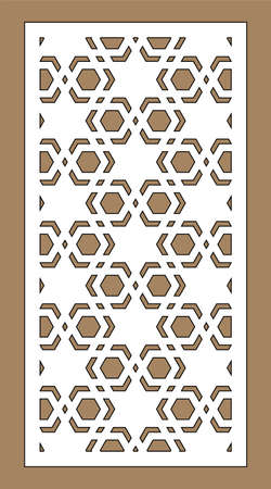 Cnc decorative pattern, jali design, interior element. Islamic , arabic laser cut. Shade screen, privacy fence template. Laser cut vector panel, screen, fence, divider. Ilustração